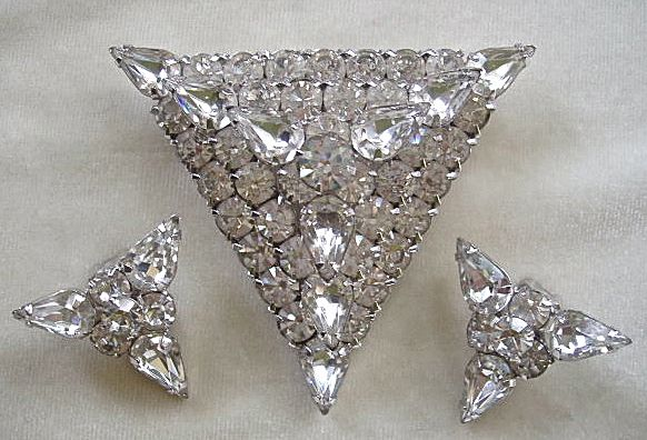 Flashy vintage triangle clear rhinestone pin and clip earrings set ~ bridal!