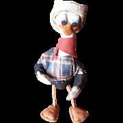 Comical Felt Cowboy Donald Duck, 1940's