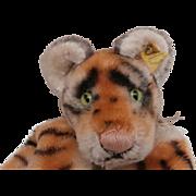Steiff Tiger Hand Puppet, 1968 to 1978, Steiff Button