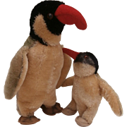 Mother and Baby Steiff Peggy Penguin,  1964 to 1972.No Id's A/F
