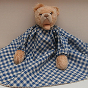 Rare Vintage Topsy Turvy Teddy and Rabbit baby Comforter, made by Trudi, Italy with Metal Tag