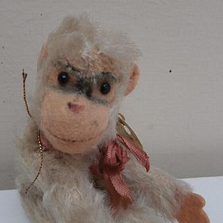 Cute Steiff Miniature White Jocko Monkey, Steiff Button, 1958 to 1964