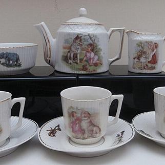 Unusual Vintage Childs Tea Set, Boy / Girl
