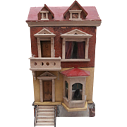 Early German Dolls House,Red Roof, 1890 to 1900, French  Sea Side Villa , Needs Renovation