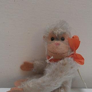 Steiff Miniature White Jocko Monkey1958 to 1961, No Id's