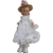 Old Cottage Doll ,  English Victorian  Party Dress Girl