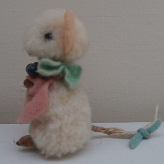 Darling  Vintage Miniature Wool Mouse with Original Clothes