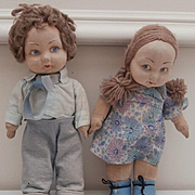 Norah Wellings Pair Boy and Girl Jolly Toddler Dolls, All Original