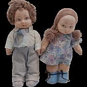 Norah Wellings Pair Boy and Girl Jolly Toddler Dolls, All Original