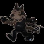 Early Sterling Silver / Enamel  Felix The Cat Brooch