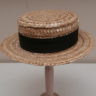 Vintage Doll / Teddy Bear Straw Boater Hat