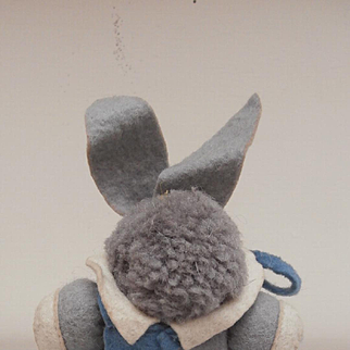 Darling All Orignal Vintage Wool Bunny Rabbit with Original Felt Clothes.