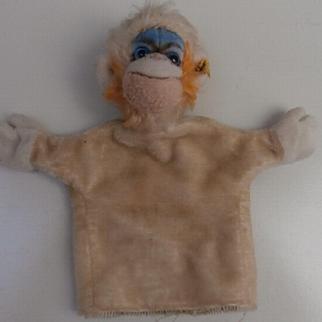 Steiff Mungo, Monkey Hand Puppet, Steiff Button, 1964 to 1968