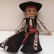 Alpha Farnell Small Size ,Spaniard,  Model 1, Cloth Doll, 1930's, Label On Foot.