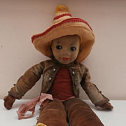 Norah Wellings Glass Eyed Mexican Doll called ' Panchito' Model K20, 1930's
