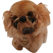 Little Steiff Peky Pekingese Dog, 1958 to 1964, Steiff Chest Tag