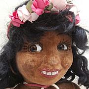 Pollyanna, Unusual 1930's Chad Valley Black Cloth Doll