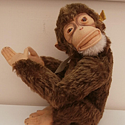 Steiff Jocko Monkey, Squeaker Still Works, 1968 to 1981, Steiff Button
