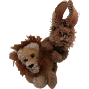 Well Loved  Vintage Miniature Schuco Pair, Rabbit and Lion