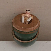 Early Tiny Peg Wooden Doll in Her Egg