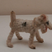 Sweet Super Tiny Fox Terrier Vintage Pipe Cleaner Dog, Rare Open Mouth Dolls House