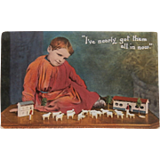 Great Early Postcard Boy Playing with Wooden Toys
