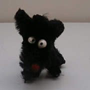 Vintage  Tiny Black Terrier Pipe Cleaner Dog with Googly Eyes and Mate