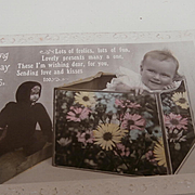 Early Postcard with Baby and Teddy Doll