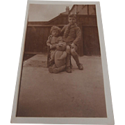 Early Real Photo Picture Postcard of Brothers Norman and Bernard with Teddy Bear