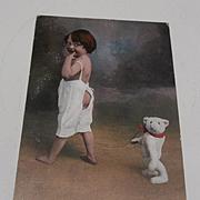Early Postcard Little Girl with her Teddy Bear.