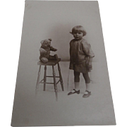 Early Real Life Photograph of Alan and his Teddy Bear, 1918