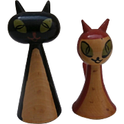 Vintage Pair of  Wooden Cats