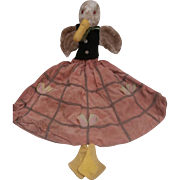 Rare English Allwin Duck Nightdress Case, Bed Doll, 1930's