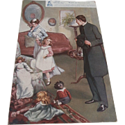 Early Postcard, Children, Dolls and Golly,1907