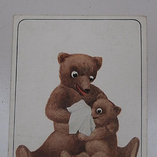 Early Postcard Mummy and Baby Teddy Bear 1910