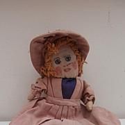 Molly , Sweet Homemade 1950's All Original Rag. Cloth Doll
