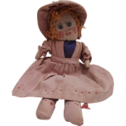 Molly , Sweet Homemade 1950's All Original Rag. Cloth Doll
