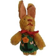 Darling Vintage Miniature Schuco Rabbit Wearing Felt Outfit