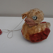 Chad Valley Duck  Hanging Baby Toy 1930's, Chad Valley Label