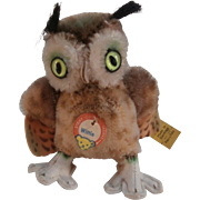 Smallest Size Steiff Wittie Owl,1965 to 1967, Steiff Button and Steiff Chest Tag