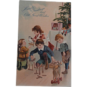 Early Christmas Postcard, Toys, Cat, Goat, Punch