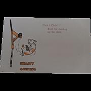 Unusual Greeting Card, Unused Showing Climbing Monkey and Bozo Type Dog