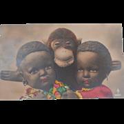 Wonderful Early Postcard , Steiff Jocko Monkey and Two Black Cloth Dolls