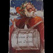 Rare Early Santa Claus Teddy Bear, Golly, Golliwogg Postcard