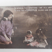 Early Christmas Postcard, Japanese Doll