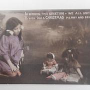 Early Christmas Postcard, Japanese Doll