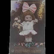 Early Kewpie  Googly Eye Doll Postcard, Birthday Greetings