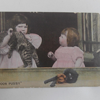 Early Postcard, Children, Pussy Cat, Golly, Golliwogg