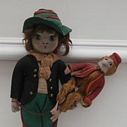 Rare Early Cloth, Felt  Urchin Boy Doll and His Monkey, Possibly Harwin