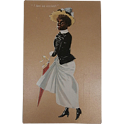 Amazing  Early Postcard, Black Lady Smoking  'I Feel So Wicked', 1905 to 1910